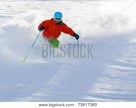 Skiing, Skier, Freeride in fresh powder snow - man skiing downhill poster