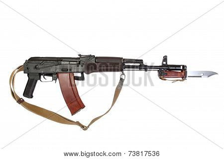 assault rifle with bayonet isolated on a white background poster