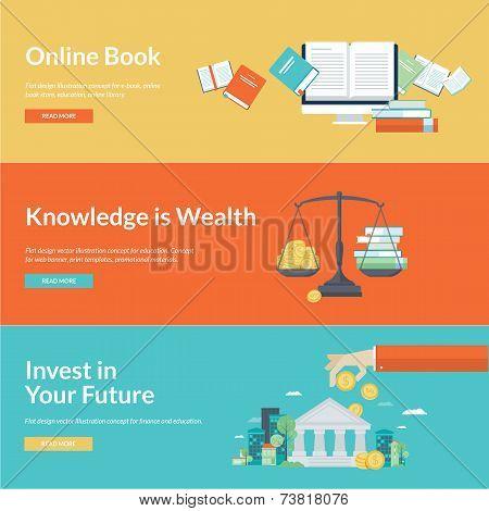 Flat design vector illustration concepts for online book, online library, online book store, finance