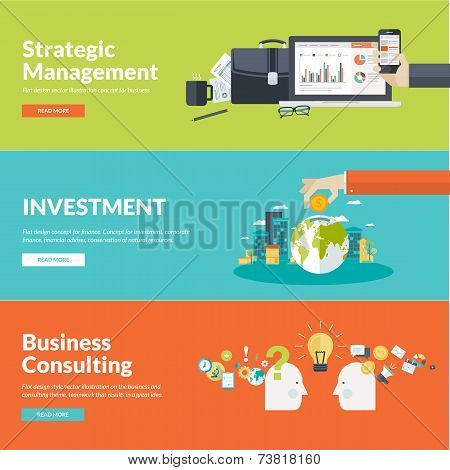 Flat design vector illustration concepts for business, finance, strategic management, investment, c