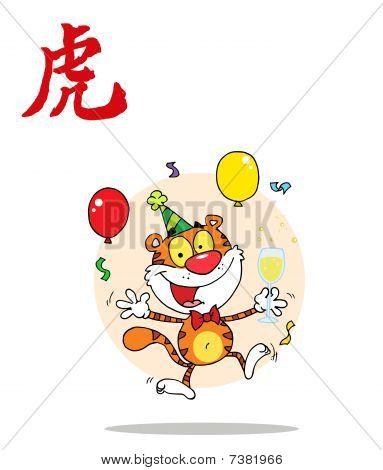 partying Tiger mit einem Jahr der Tiger chinesische Symbol springen