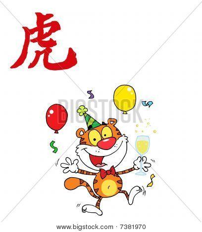 Partei Tiger mit einem Jahr der Tiger chinesische Symbol springen