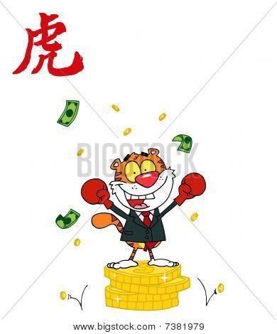 siegreich Business Tiger auf Münzen, mit einem Jahr der chinesische Tiger-Symbol