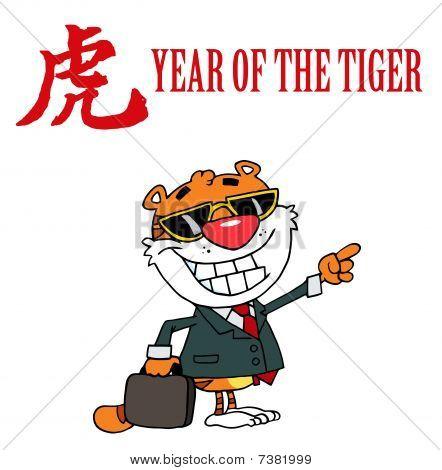 Tiger mit einem Jahr die Tiger chinesische Symbol und Text zeigen