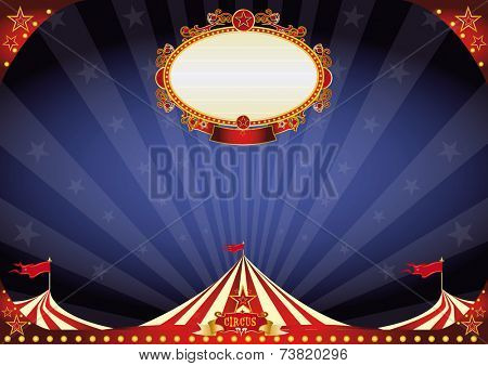horizontal Circus night background. A circus poster on a night sky for your entertainment. A background circus ideal for a screen