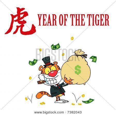 reiche Tiger holding Geldsäckchen mit einem Jahr des Tigers chinesische Symbol und text