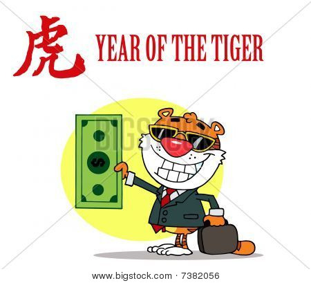 Happy Tiger Holds Dollar and Business Briefcase poster