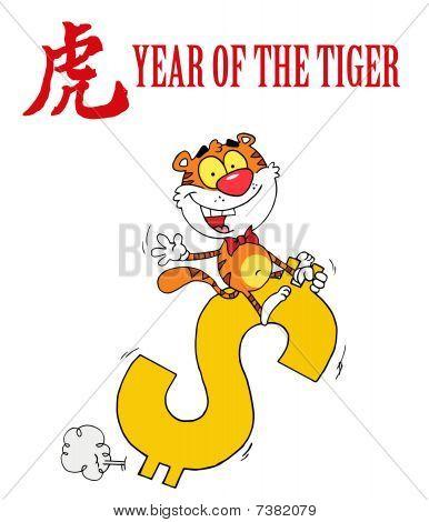 Cartoons Charakter Anima freudig Tiger Dollar Reiten
