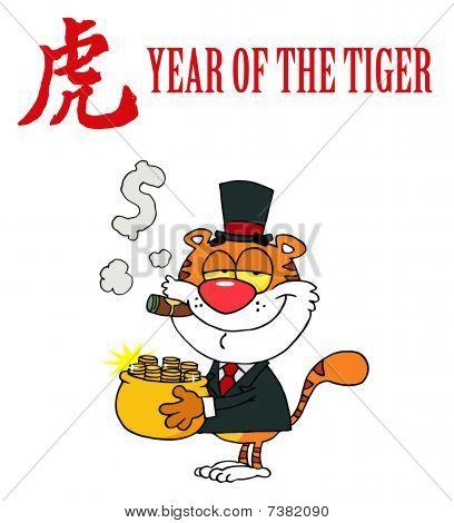 Charakter Tier glücklich Tiger mit Topf voll gold