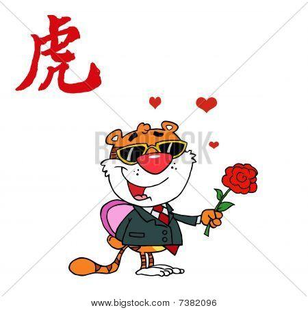 Charakter romantische Tiger mit Blumen und Geschenke
