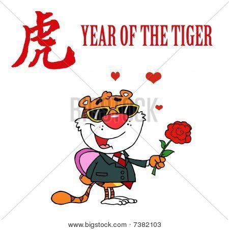 Charakter Tier romantische Tiger mit Blumen und Geschenke