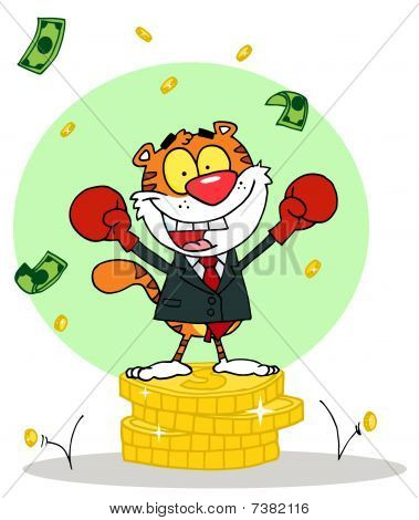 Cartoons Charakter Tier glücklich Tiger alated mit Sieg, Hintergrund