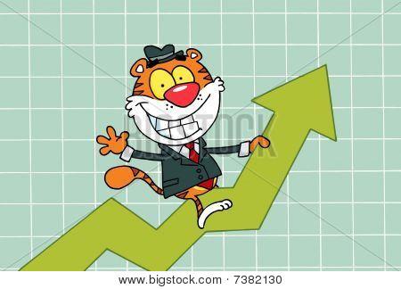 Cartoons Charakter freudig Tiger Reiten auf Erfolg, Hintergrund