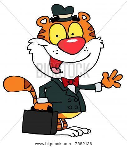 : Verkäufer Tiger winken und Durchführung einer Aktentasche