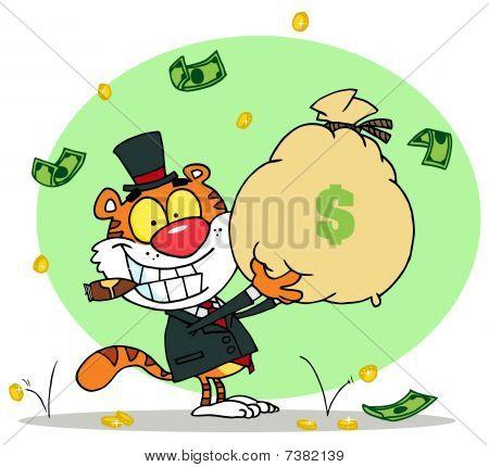 erfolgreiche Tiger raucht eine Zigarre und hält einen Beutel mit Geld