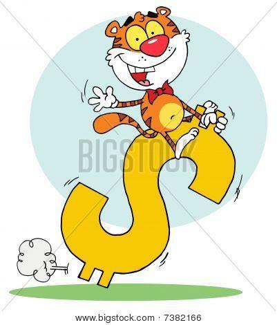 Cartoon Charakter freudig Reiten auf ein Dollarsymbol, Hintergrund