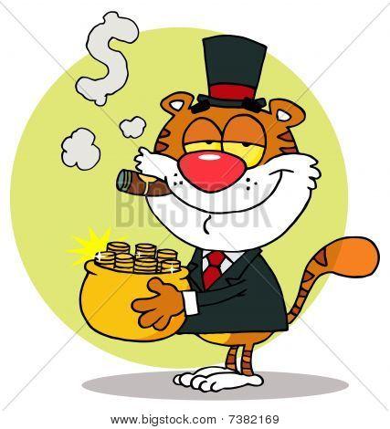 Happy Tiger mit einem Tiegel aus Gold und raucht eine Zigarre, Hintergrund