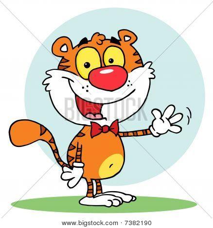 freundliche Tiger tragen eine Fliege und winken