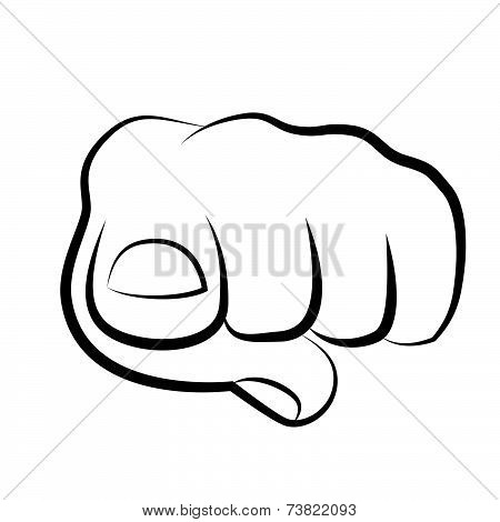 Hand Pointing Finger At Viewer, From Front