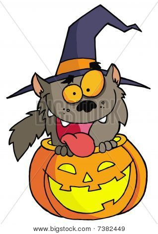 Happy Werewolf In A Carved Halloween Pumpkin poster