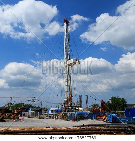 Land Drilling Rig in Yard - Oil and Gas Industry poster