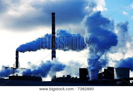 polluted blue smoke from chemical factory