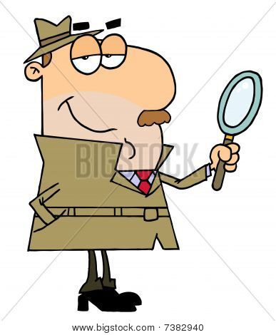 Caucasian Cartoon Detective Man
