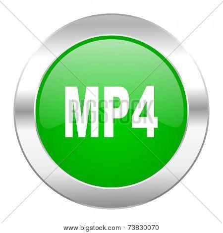 mp4 green circle chrome web icon isolated