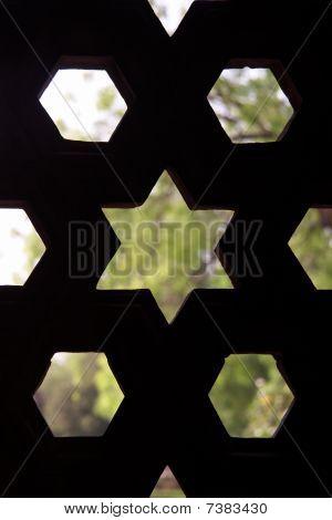 Stone Grid In Qutb Minar, Delhi, India
