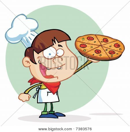 Smiling Boy Chef Showing A Delicious Pizza
