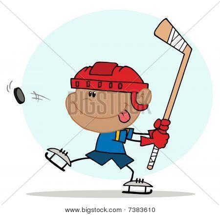 Happy Hispanic Boy Playing Hockey