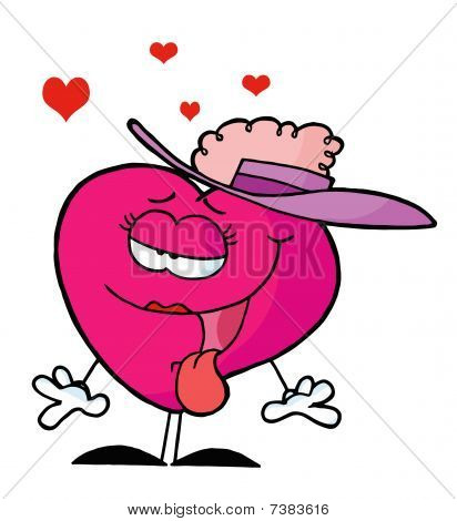 Swooning Pink Lady Heart Wearing A Hat