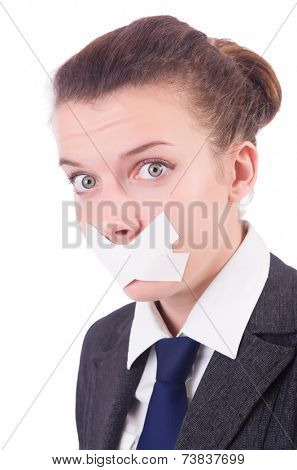 Young woman in censorship concept