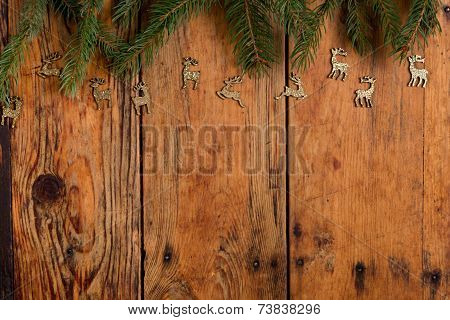 Christmas reindeer decoration on wooden table