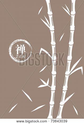 Bamboo Vector Illustration With Religious Zen Symbol