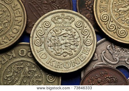 Coins of Denmark. Danish national coat of arms depicted in Danish krone coins.