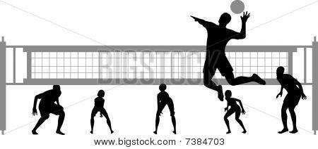 vector silueta de juego de voleibol