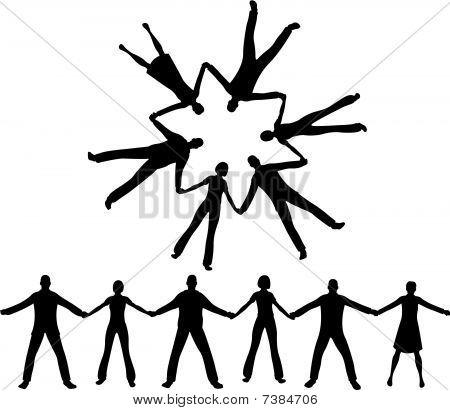 Menschen zusammen Silhouette vektor