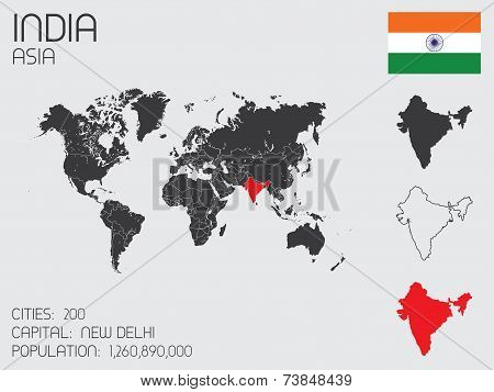 Set Of Infographic Elements For The Country Of India
