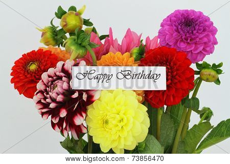 Happy birthday card with colorful dahlia flowers