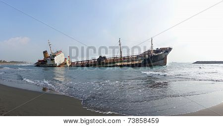 Shipwreck Of A Beached Diesel Tanker