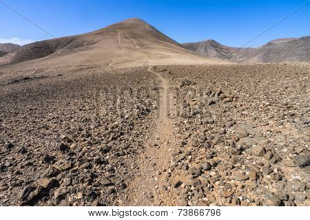 Mountain path on Pico Redondo on Lanzarote
