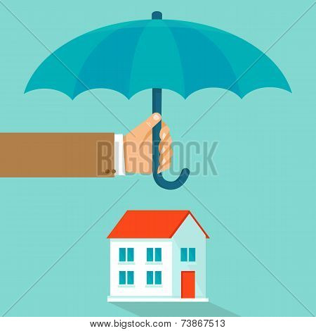 Vector house insurance concept in flat style