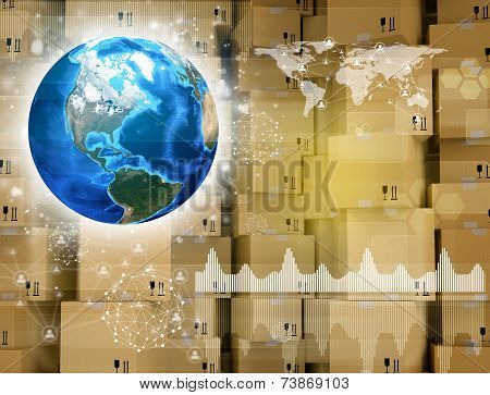 Earth and wall of cardboard boxes