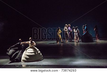 MOSCOW - OCTOBER, 2: ITMOI by  Akram Khan. Famous Performance at International Festival-School Territoria. Theatre of Nations. October 2, 2014 in Moscow, Russia