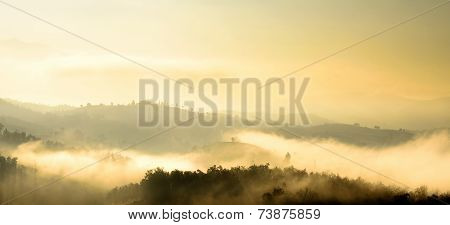 Mountain Landscape View And Mist