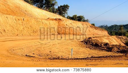 Laterite Non-asphalt Road Under Construction