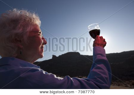 Elderly Woman Toasting A Glass Of Wine