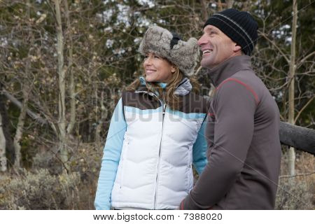 Smiling Couple Outdoors In Winter Clothing