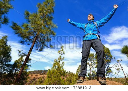 Man hiking reaching summit top cheering celebrating on mountain top with arms up outstretched towards the sky. Happy male hiker.